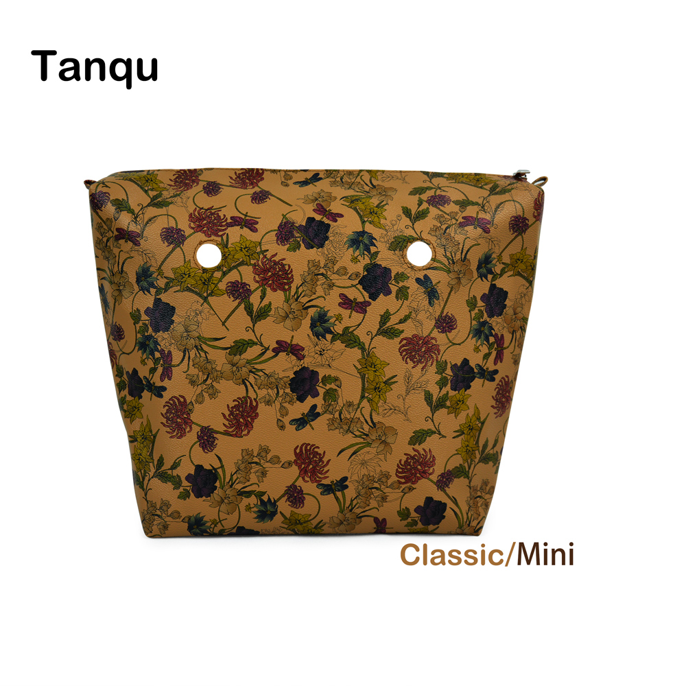 2018 New TANQU Flower PU Leather Inner Zipper Pocket Lining Waterproof Insert for Big Classic Mini Obag EVA O BAG Women Handbag tanqu new mini floral print pu leather lining waterproof insert zipper inner pocket for mini obag eva o bag women handbag