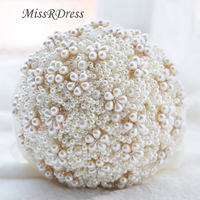 MissRDress Ivory Pearls Wedding Bouquets 2018 Luxury Wedding Flowers Romantic Pink Bridal Bouquet For Wedding Decoration JK306