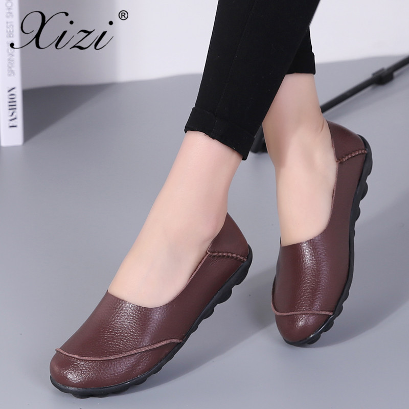Hot Sale Women Flat Shoes Big Size35-44 2018 Soft Shoes Casual Woman Women Shoes Genuine Leathe Loafers Ladies Flats Shoes Woman 2018 new genuine leather flat shoes woman ballet flats loafers cowhide flexible spring casual shoes women flats women shoes k726