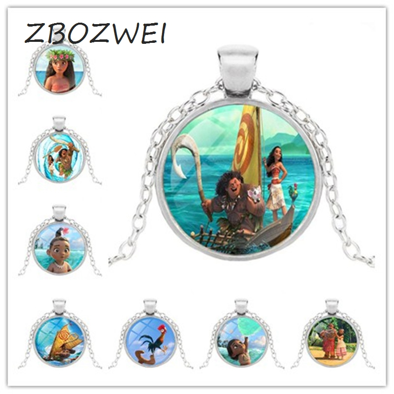 Anime Bronze Plated Jewelry With Glass Cabochon Movie Moana Pattern Choker Long Pendant Necklace For Women Wedding Cosplay Gift Attractive Appearance Costume Props Novelty & Special Use