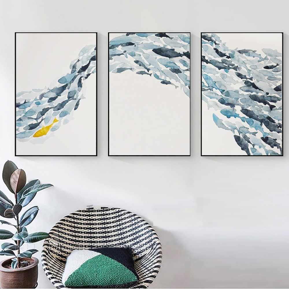 Nordic Simple Abstract Fish Group Posters and Prints Wall Art Print Canvas Painting Decorative Picture for Living Room