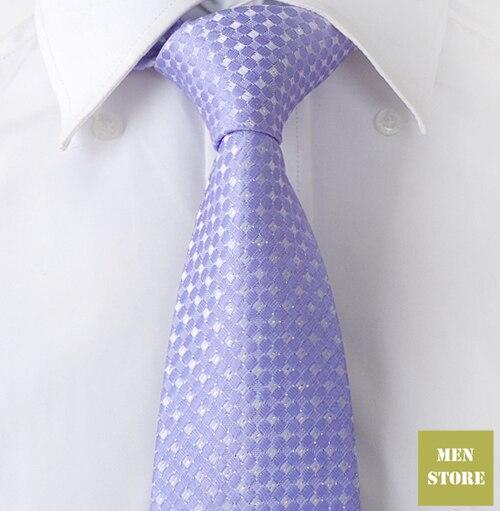 """Шиферно-синие шашки мужские жаккардовые тканые шелковые галстуки ручной работы """" галстук 8 см Галстук Свадебная вечеринка галстук для жениха AT257"""