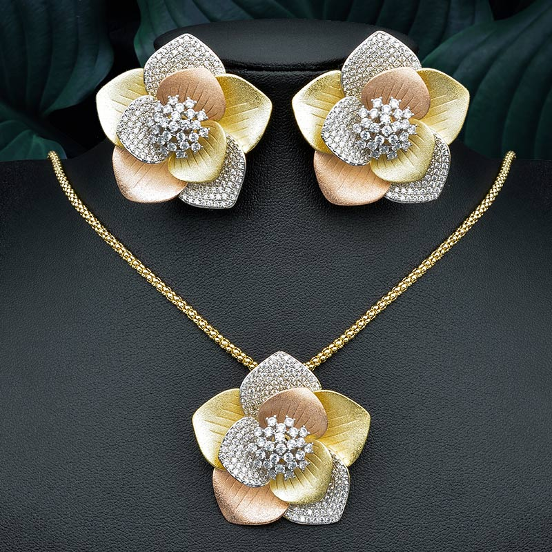 ModemAngel Luxury Big Geometric Flower Pendant Necklace And Earring Engagement Wedding Party Jewelry Set for Women