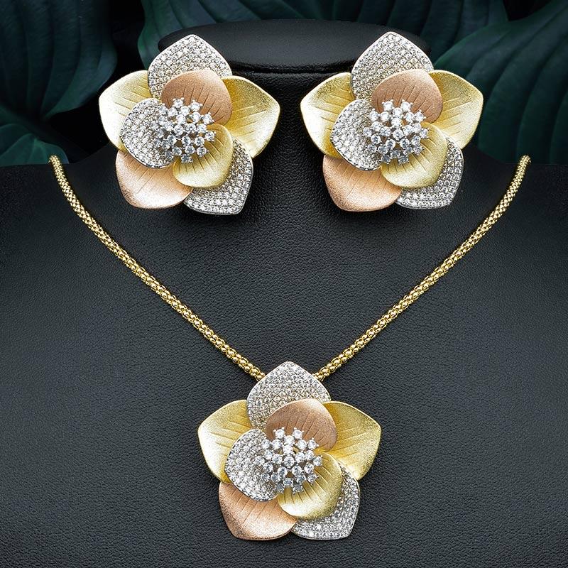 ModemAngel lujo grande geométrico flor colgante collar y pendiente compromiso boda fiesta joyería conjunto para mujeres-in Conjuntos de joyería from Joyería y accesorios    1