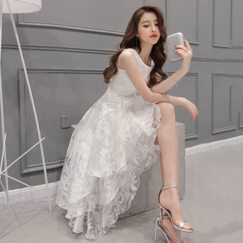 Detail Feedback Questions about ROPALIA Summer Women Maxi Dress O Neck  Sleeveless Sweet Ball Gown White Organza High Low Evening Party Long Dress  on ... 1ee3be19fbb6