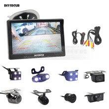 DIYSECUR 5 дюймов заднего вида автомобиля монитор Авто Парковка Vedio светодио дный + LED ночного видения резервная камера заднего вида HD Автомобильная камера заднего вида