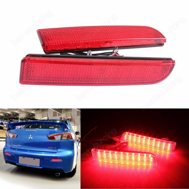 ANGRONG For Mitsubishi Lancer Evo X Red Lens Bumper Reflector LED