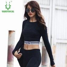 60ee44081 Vansydical Gym Yoga das Mulheres Camisas Manga Comprida Sexy Exposed umbigo  Elastic Correndo Esportes da Ioga