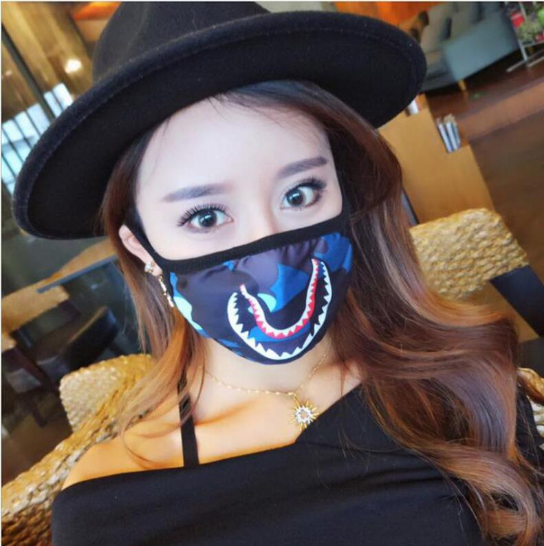 Free shipping 100pcs Bathing Ape Shark Black Face Mask Camouflage Mouth muffle Cover