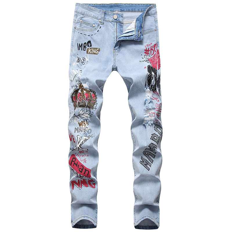 Mcikkny Men\`s Ripped Hip Hop Jean Pants Fashion Slim Fit Stretch Denim Trousers For Male Straight Size 29-38 (1)
