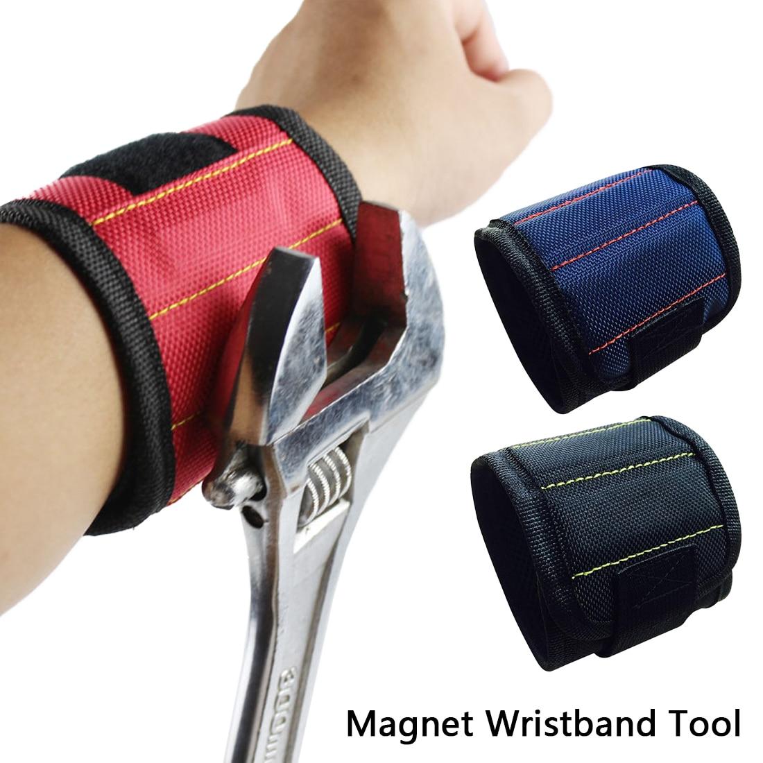 Strong 3 Magnetic Magnet Wristband Pocket Wrist Support Tool Bag Hand Bracelet Pouch Bag Screws Drill Holder