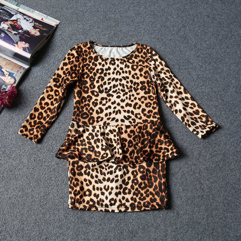 3-10Y Summer European Style Kid Fashion Dresses Baby Girls Leopard Printed Long Sleeve Slim Dress