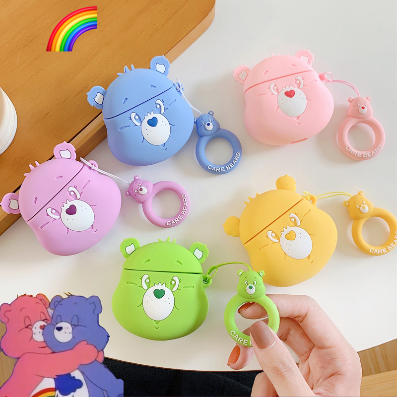 3D Cute Rainbow Care Bears Silicone Case For Apple Airpods 1 2 Wireless Earphone Headphone Candy Color Bear Cover Charging Box