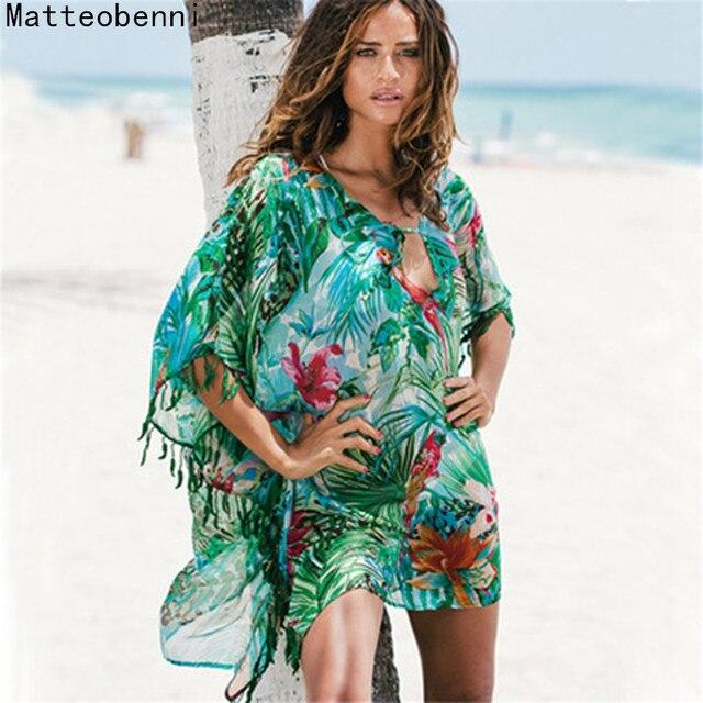 Женское пляжное шифоновое платье-парео с принтом, Летняя туника Saida De Praia, Пляжное бикини, купальный костюм, кафтан, пляжный купальник