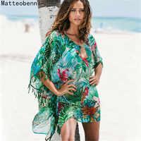 Impressão feminina pareo praia cobrir chiffon saida de praia túnica vestido de verão praia bikini cover up maiô kaftan nadar beach wear