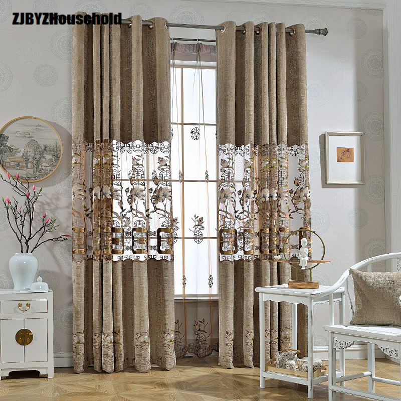 Modern Chinese Style Curtain Cloth,Curtains For Living Dining Room Bedroom