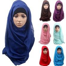 Модные женские хлопковые удобные мусульманские исламские Рамадан длинный шарф хиджаб шаль головные уборы AIQQ