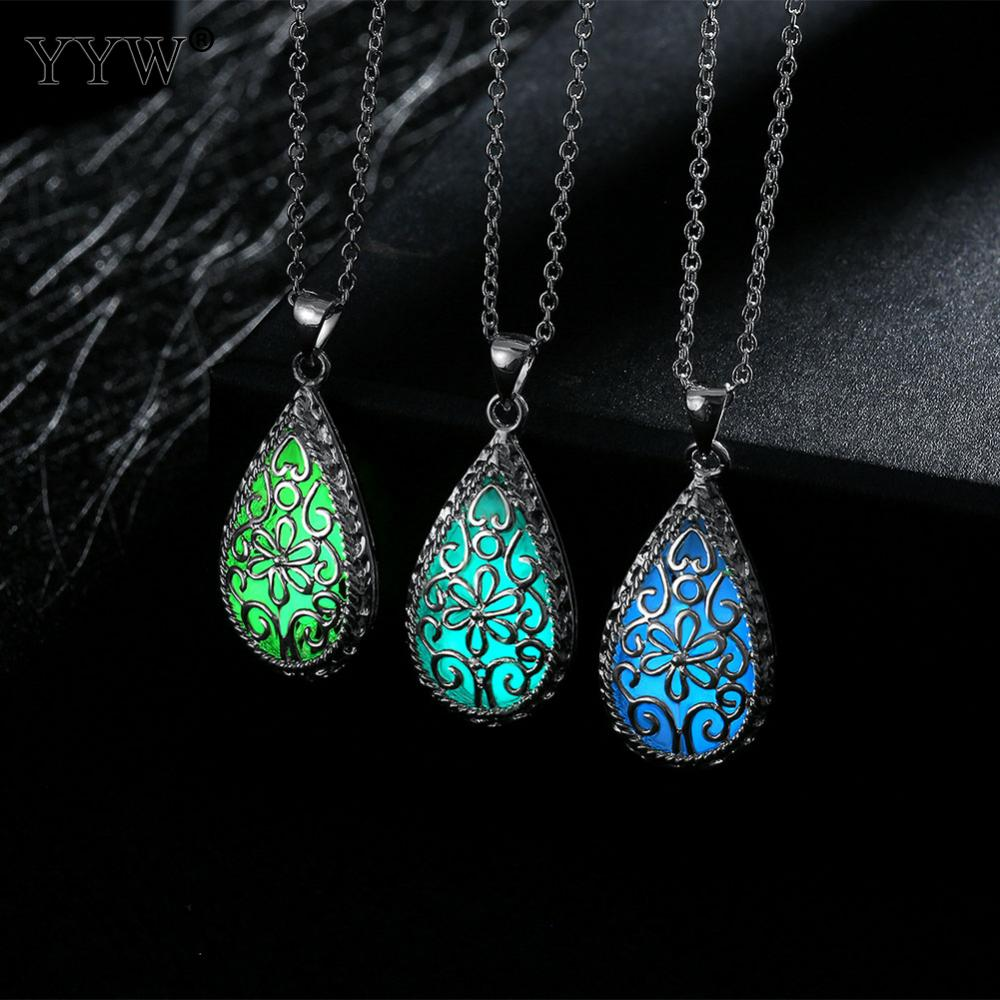 2017 New Fashion Glowing Stone Locket Necklace Jewelry Silver Hollow Water Drop Glowing Pendant Silver Glow