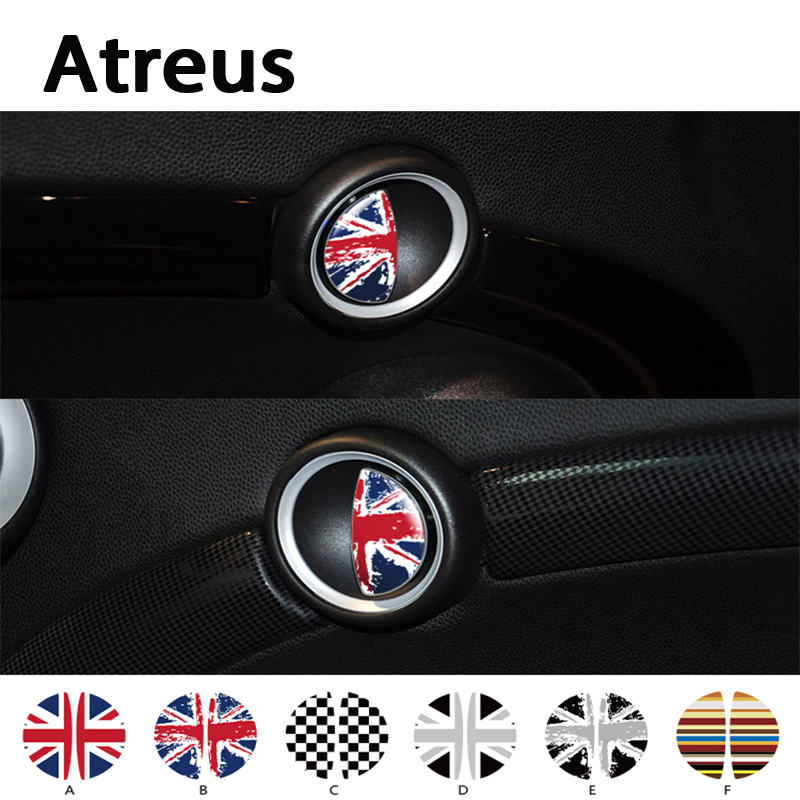 Atreus 2pcs 3D Car-styling Car door handle Interior decoration stickers For <font><b>Mini</b></font> Cooper R56 R50 <font><b>R53</b></font> F56 F55 R60 R57 Accessories image