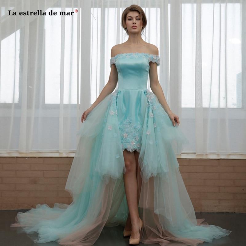 Vestidos de fiesta de noche largos elegantes2019 new tulle satin neck can be disassembled turquoise high low   prom     dress   long gal