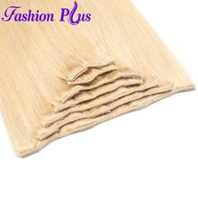 Fashion Plus Straight Hair 120g Clip In Hair Extensions Machine Made Full Head Natural Hair 100% Remy Human Hair Extensions(China)