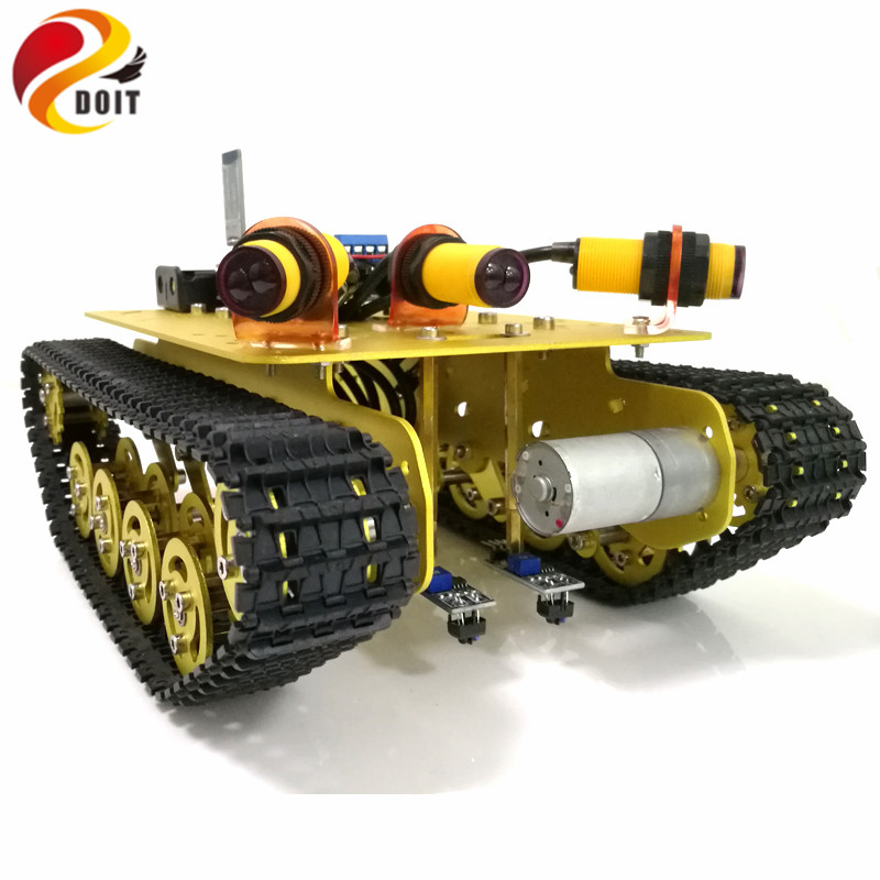 DOIT Bluetooth Control Tracking Obstacle Avoidance Tank Chassis TS100 with Arduino UNO R3 Board+Motor Drive Shield Board DIY RC