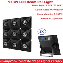 LED Par Light 9X3W RGBW Quad Color Aluminium Shell DJ DMX Led Beam Strobe Effect Stage Lighting IP20 0-100% Linear Dimmer 2xlot wholesale mini led roller scanner effect light 10w full color strobe stage lighting dj lamp rgbw auto rotating led bulb