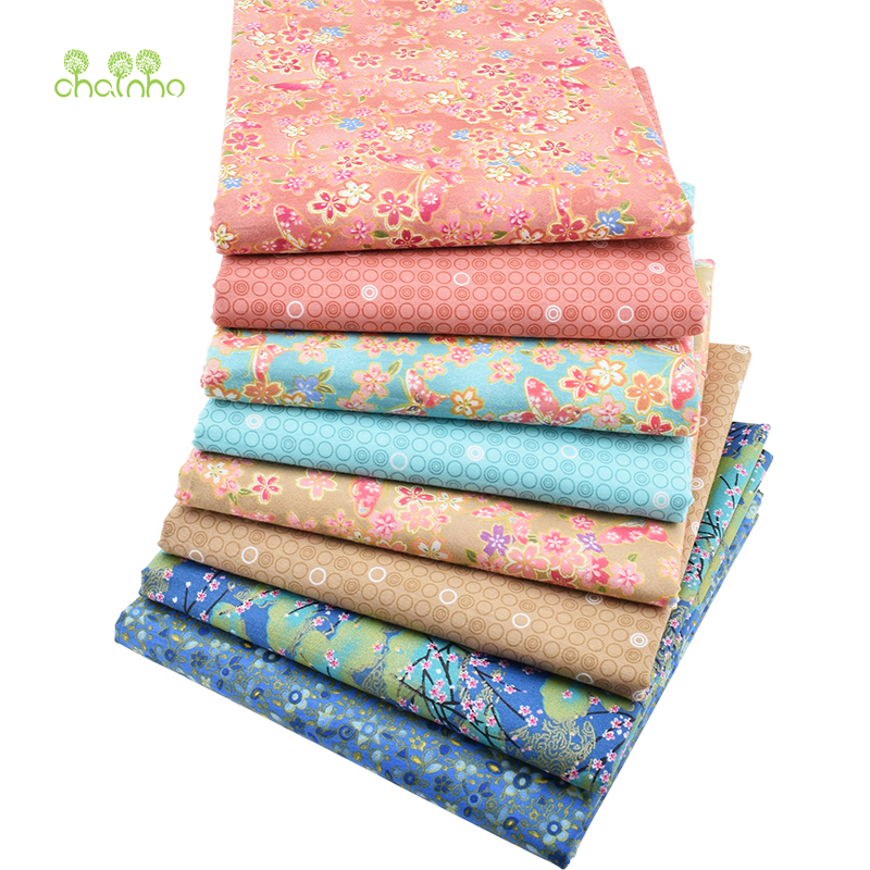 Printed twill cotton fabric patchwork bronzing floral for Cloth material for sewing
