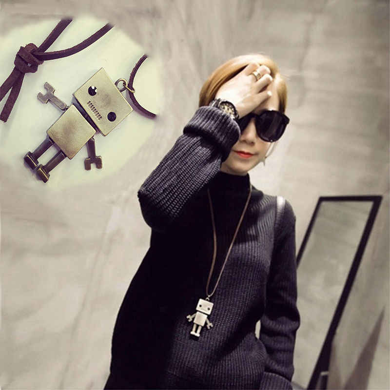 1pc Good Quality Casual Fashion Vintage Long Necklace Sweater Chain Small Robot Women Man Pendant Long Necklace J
