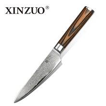 """XINZUO 5 """"pulgadas cuchillo de 73 capas Japonés de Damasco cuchillo de cocina fruta multiusos cortador de mango de madera de color ENVÍO GRATIS"""