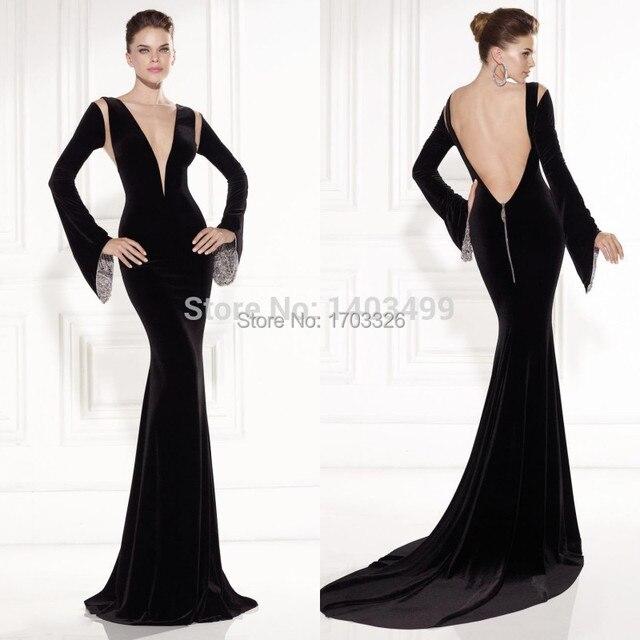 2014 Astonishing Bell-Shaped Long Sleeve Evening Dress Mermaid Velvet  Plunging V Neck Long Prom Party Gowns Vestido De Formatura 24ca045b6d23