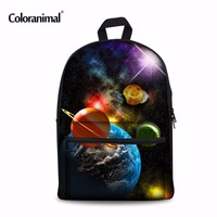 Coloranimal Backpack Fashion Canvas Planet Stars Space Universe Printing Backpacks for Women Men Teenger Boy School Bag Mochilas