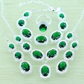 Reginababy Silver color Green created Emerald Jewelry Sets Bracelets/Drop Earrings/Ring/Necklace/Pendant Women Wedding