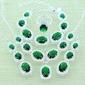 Reginababy cor Prata criado Verde Esmeralda Conjuntos de Jóias Pulseiras/Brincos/Anel/Colar/Pingente de Casamento Das Mulheres