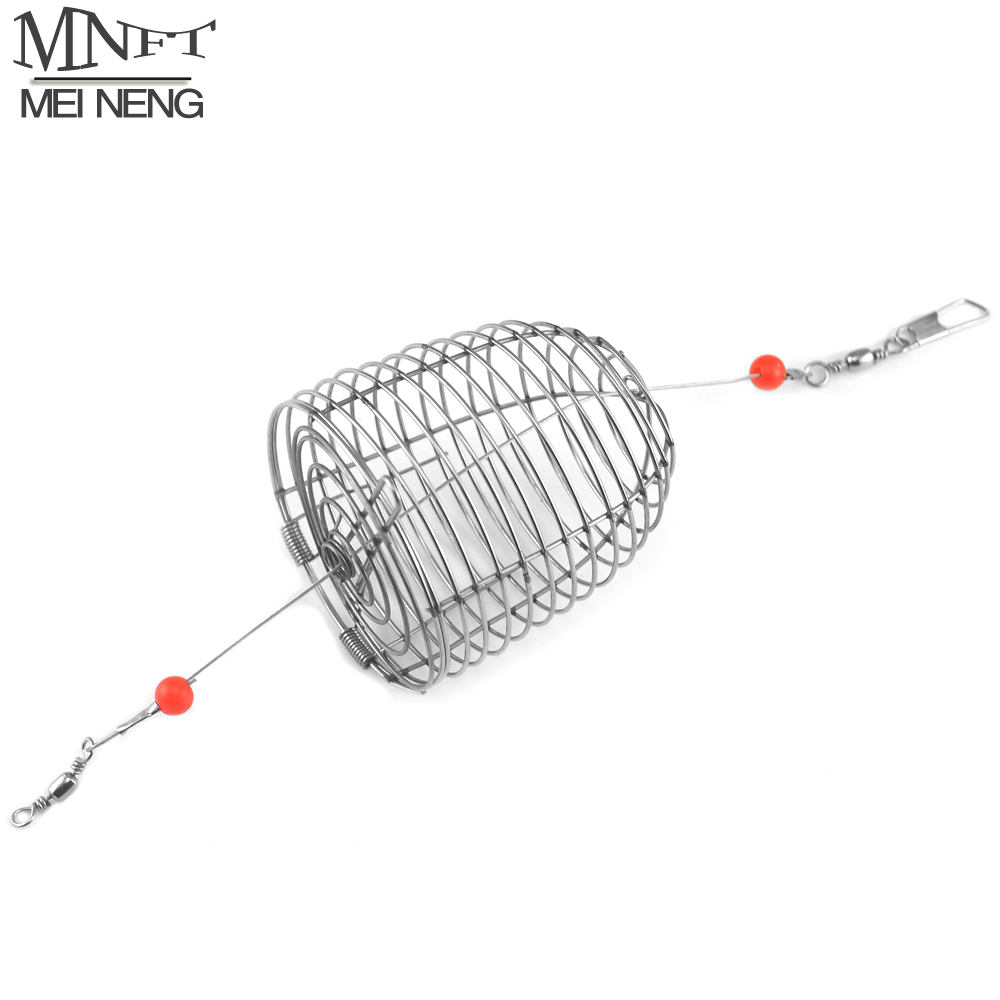 MNFT 2PCS Stainless Steel Wire Fishing Lure Cage Small Bait Cage Fishing Trap Round Bottom Basket Feeder Holder Fishing Tackle