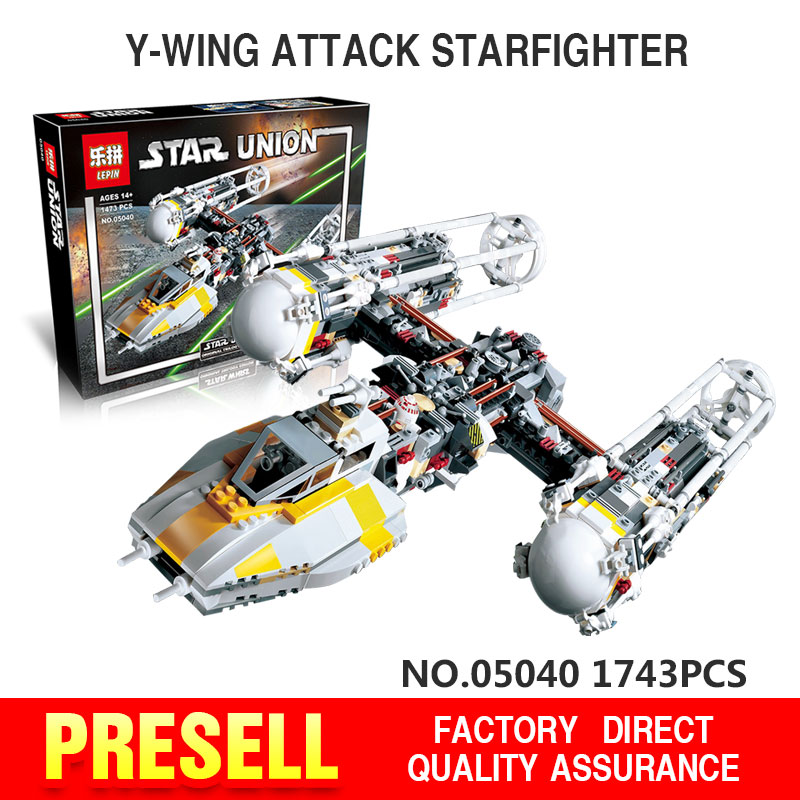 ФОТО lepin 05040 star war series y-wing attack starfighter building assembled block brick minifigure toy compatible