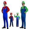 Дети Веселый Косплей Super Mario Bros Косплей Костюм Установить Взрослых Фантазии Dress Up Party Костюм МАРИО и ЛУИДЖИ Костюм Для Детей подарки