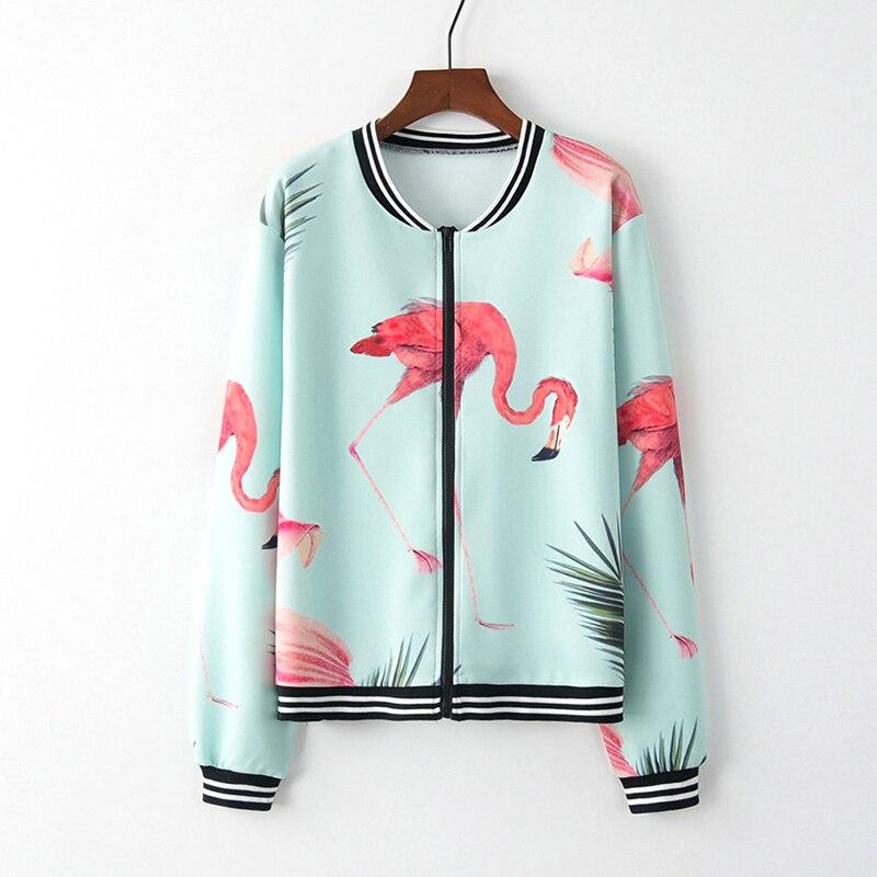Women Long Sleeve 3D Floral Flamingo Print Outwear Zipper Up Autumn Winter Coat Jackets Female Streetwear Outwears