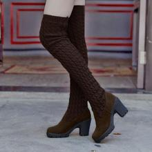 HOT Women Boots Autumn Winter Ladies Fashion Flat Bottom Boots Shoes Over The Knee Thigh High Knitting wool Long Boots