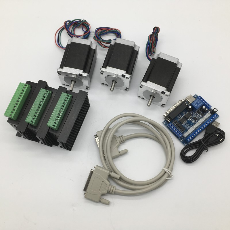 3PCS Nema23 Stepper Motor 8mm Shaft &Driver With mach3 Breakout Board kit 57*56mm 3A 1.2Nm 172Oz-in  3 Axis 2ph 4 Wires  cheap3PCS Nema23 Stepper Motor 8mm Shaft &Driver With mach3 Breakout Board kit 57*56mm 3A 1.2Nm 172Oz-in  3 Axis 2ph 4 Wires  cheap