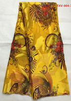 Gold Flocking Silk Velvet With Stons 5yards Pcs African Fabric Arabian Style For Sewing Velvet Dress