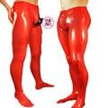 Leggings de látex Sexy hombres Pantalones De Goma Pene Condón Adjunta Cremallera de La Entrepierna Más El Tamaño de La Venta Caliente