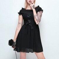 Ribbon Cross Retro Sexy Slash Neck Mesh Patchwork Dresses Women's Lolita Gothic Mini Dress Short Sleeve Punk Girls Black Dress