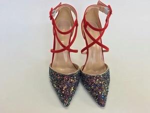 Image 2 - Keshangjia 여자 결혼식 신발 하이힐 드레스 신발 sequined 천을 발목 스트랩 펌프 여성 섹시한 굽 신발 zapatos mujer