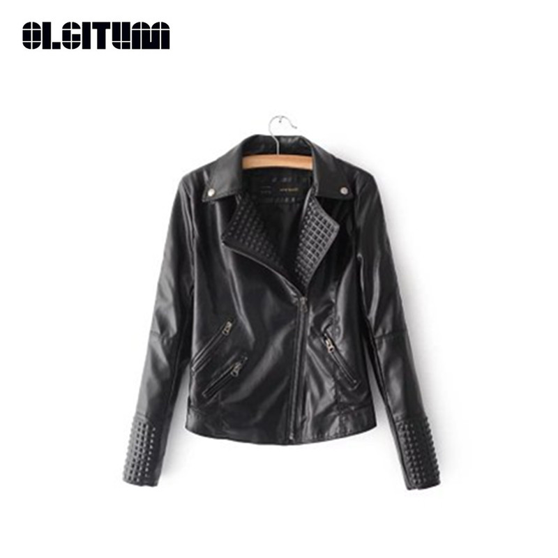 New 2018 Women Faux   Leather   Jacket Rivet Embossed Motorcycle   Leather   Jacket Fashion Jaqueta Couro Femme Casaco JK574