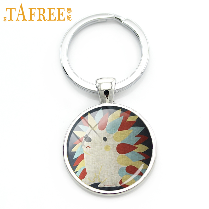 TAFREE Brand Variety Hedgehog keychain small brown animal with spikes covering its back trendy colorful cute jewelry A762