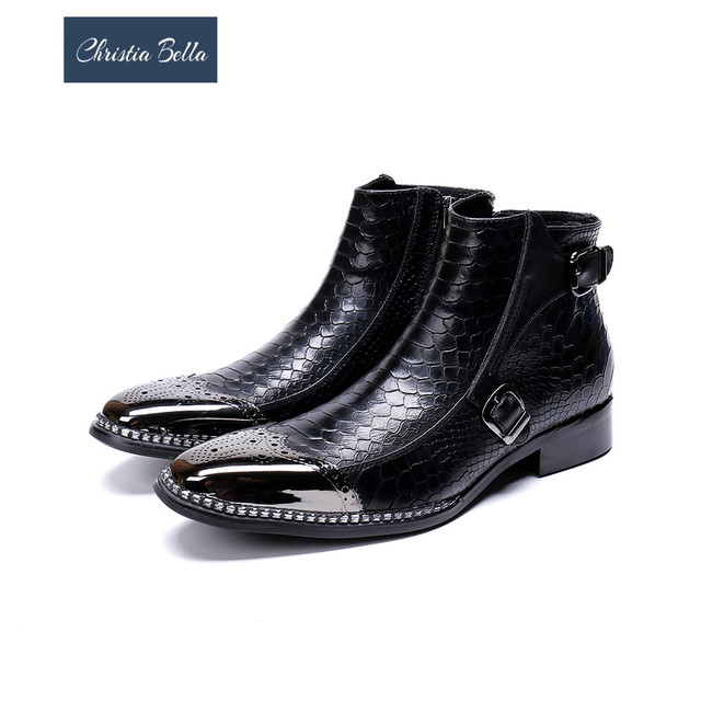 Christia Bella Winter Autumn Snake Pattern Genuine Leather Men Boots Bullock Carved Men Dress Boots Party Wedding Formal Shoes