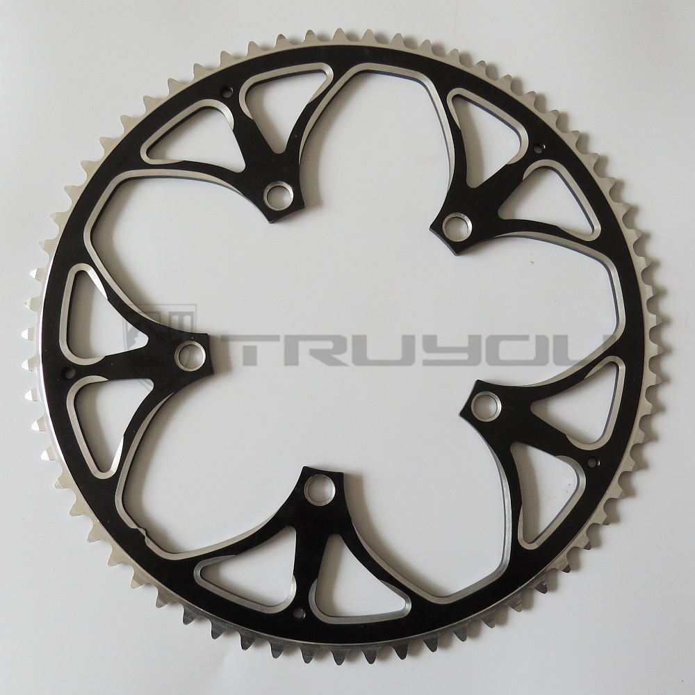 TRUYOU Chain Wheel 130 BCD 65T Aluminum Alloy CNC Road Bicycle Chainring Crankset Folding Bikes Chainwheel Black Single Speed d09 aluminum alloy bicycle cnc front fork washer blue white 28 6mm
