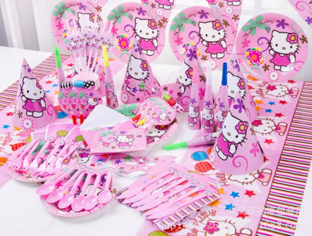 84pcs lot Hello Red Kitty theme Package Kids Birthday Decoration Set Theme Party Supplies Baby Birthday Party Pack in Disposable Party Tableware from Home Garden