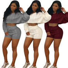 Hot Design Sexy Two Pieces Jumpsuit Short Female Sweater Sexy Rompers Women Jumpsuit Club Playsuit M834